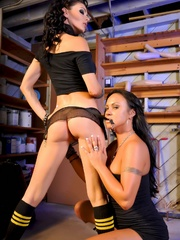Busty brunettes strapon fuck in the garage - Unique Bondage - Pic 1