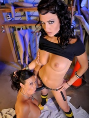 Busty brunettes strapon fuck in the garage - Unique Bondage - Pic 14