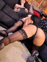 Busty brunette lesbians strapon fucking! - Unique Bondage - Pic 6