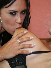 Curvy brunette lesbians strapon fucking! - Unique Bondage - Pic 2