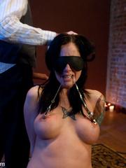 Captured and blindfolded busty brunette gets - Unique Bondage - Pic 6