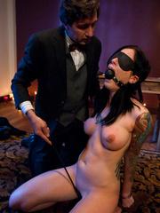 Captured and blindfolded busty brunette gets - Unique Bondage - Pic 8