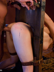 Captured and blindfolded busty brunette gets - Unique Bondage - Pic 12