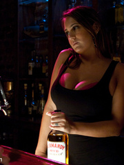 Enslaved bartender babe with epic boobs - Unique Bondage - Pic 2