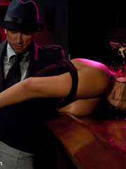 Enslaved bartender babe with epic boobs - Unique Bondage - Pic 3