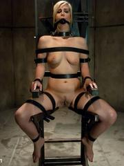 Blonde sexy hottie in belt bondage won't - Unique Bondage - Pic 4