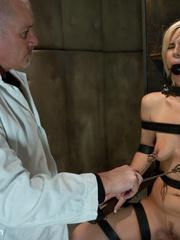 Blonde sexy hottie in belt bondage won't - Unique Bondage - Pic 5