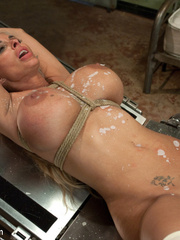Submissive blonde slave with huge breasts - Unique Bondage - Pic 10