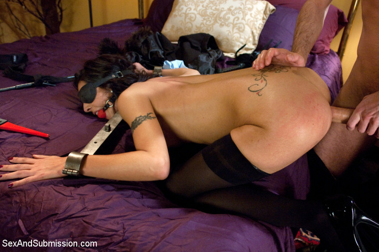 Dark haired restrained beauty gets her first - Unique Bondage - Pic 4