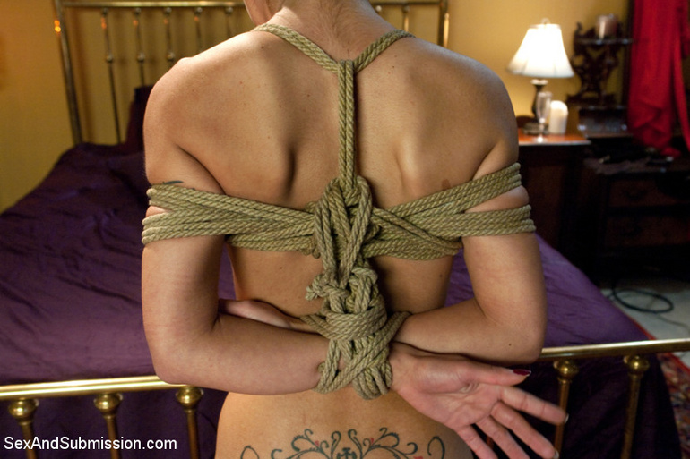 Dark haired restrained beauty gets her first - Unique Bondage - Pic 10