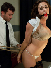 Sexy tied up and gagballed brunette taking - Unique Bondage - Pic 4