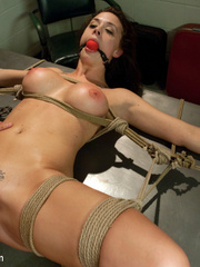 Sexy tied up and gagballed brunette taking - Unique Bondage - Pic 11