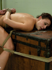 Sexy tied up and gagballed brunette taking - Unique Bondage - Pic 14