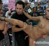 Cute blonde slave nymph gets a clothespins on her tits before getting
