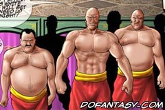 Slave comics. Three big guy fuck cute little girl with big tits but!