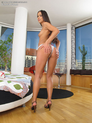 Slim erotic brunette getting naked - Sexy Women in Lingerie - Picture 4