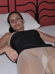 Lusty Mika on her bed just in black - Sexy Women in Lingerie - Picture 2