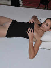 Lusty Mika on her bed just in black - Sexy Women in Lingerie - Picture 3