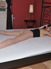 Lusty Mika on her bed just in black - Sexy Women in Lingerie - Picture 6