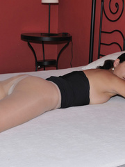 Lusty Mika on her bed just in black - Sexy Women in Lingerie - Picture 7