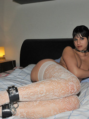 Handcuffed babe Naomi in white net - Sexy Women in Lingerie - Picture 10