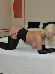 Tied blonde woman Alexis has her - Sexy Women in Lingerie - Picture 1
