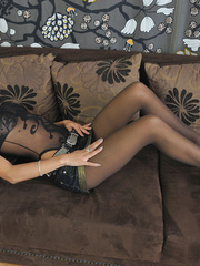 Slim body Shalina in sexiest black - Sexy Women in Lingerie - Picture 2