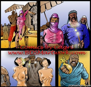 Slave comics. White girls sold at the slave market as slaves!