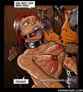 Bondage art. How about your nipple rings, slave!