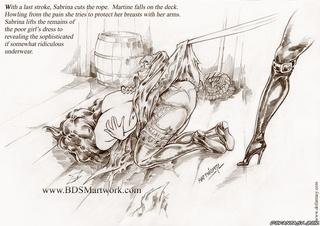 Horror comics. Sabrina continues her cruel sadistic session, very slowly, taking pleasure in every cut!