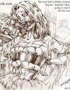 Horror comics. Sabrina continues her cruel sadistic session, very slowly,