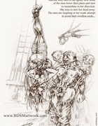 Slave cartoons. Upside down Martine only sees how some ot the men lower