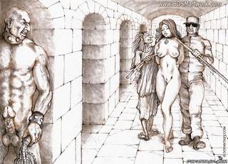 Sado cartoons. Captive girls humiliated as sex slaves in prison!