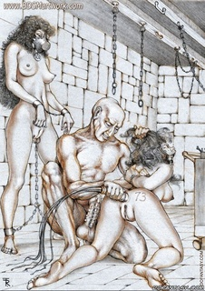 Torture drawings. Slave girl forced to satisfy all deviant sexual desires of their capturers!