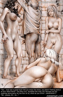 Bdsm art. So tight...so warm...swing those hips of yours...dance on my prick, slave!