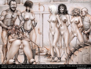 Free bdsm comics. Look at this slaves on the wall! You'll soon be here too, ready to get fucked anytime by anyone!