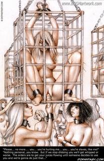 Free bdsm comics. C'mon slave, squeeze your Master's dick, make me cum inside your bowels...