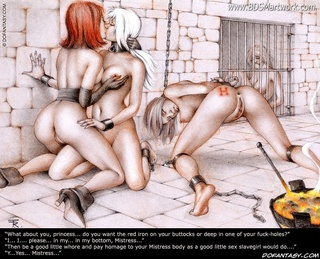 Slave art. I never liked your superior look, you big slave! Don't turn your face down! Do you want an anl shower too?