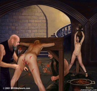 Torture drawings. Poor slave girls suffer inserting of different metal objects in their pussies!