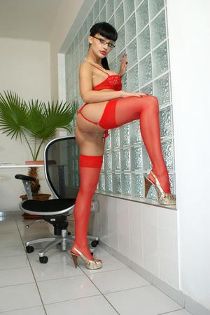 Hot office babe Aletta Ocean in red stoc - XXX Dessert - Picture 9