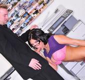 Brunette Pornstar Mackenzie sucking dick in the…