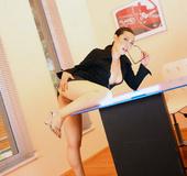 Asian office slut Molly sucking dick at work