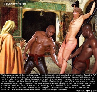 Bondage cartoons. After getting his new slave back to his harem the Sheik whipped her naked flesh!