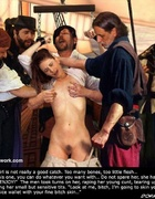 Bdsm art. The men laugh, while the naked beauty struggles in her bonds!