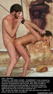 Slave girl comics. Julia screamed as the crop slashed across her pale tender flesh again and again!
