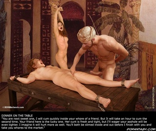 Submission. Hoist the rope higher so the slave hangs by their wrists, slave master!