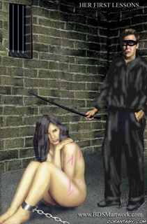 Slave art. Poor slave girls are kept in the cold dark basements!
