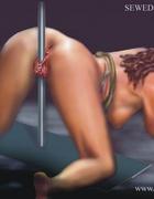 Bondage art. She is on her knees, serving her…