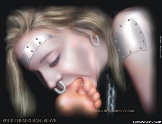 Bdsm art toons. Blonde slave sucking and licking her Master's toes!