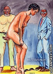Bdsm art toons. Black man ans women humiliate tied girl!